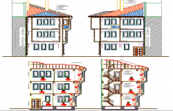 Traditional One Family House Elevation and Section Details dwg file