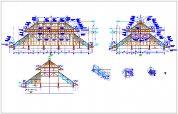 Traditional bale roof different axis section view dwg file