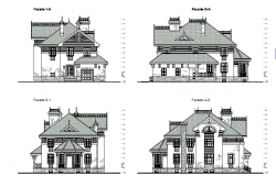 Traditional building or castle elevation dwg file