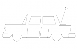 Traditional car view with side view block dwg file