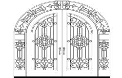 Traditional door design details dwg file