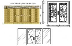 Traditional door installation details of house dwg file