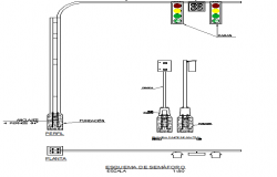 Traffic light controller and pole mounting installation details dwg file