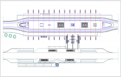 Train stain plan with architectural view dwg file