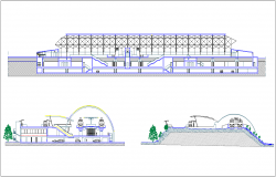 Train station section view with different axis dwg file