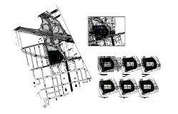 Transfer sports center building floor plan and distribution plan details dwg file