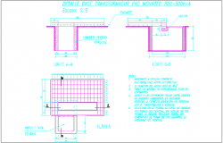 Transformer pad mounting view with construction detail dwg file