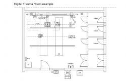 Trauma room plan details of hospital cad drawing details dwg file