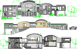 Tree House Architecture Design and Elevation Details dwg file