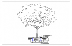 Tree planting details of house garden dwg file