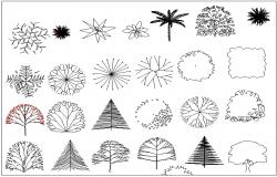 Trees block view dwg file