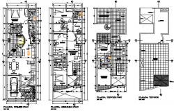 Triplex house plan detail dwg file