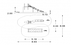 Tunnel slider detail elevation 2d view layout dwg file