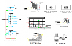 Tv installation sectional detail dwg file