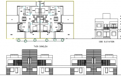 Tween bungalow multi-flooring architecture project dwg file