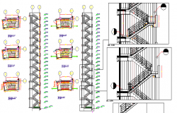Twelve level building staircase and construction details dwg file