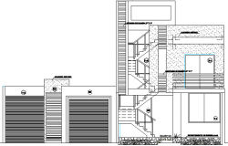 Two Family Housing Residency Architecture Layout and Section Details dwg file