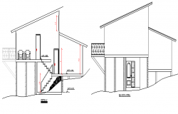 Two Flooring Residential Bungalow Design and Section details dwg file