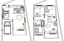 Two Flooring Residential House Design and Structure Details dwg file