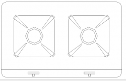 Two burner gas stove cad block design dwg file