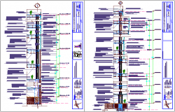 Two different column section view with structural detail for shopping center and office dwg file