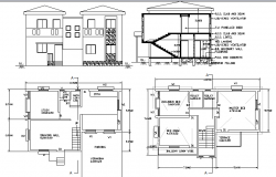 Two flooring bungalow architecture project dwg file