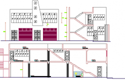 Two flooring bungalow elevation and section details dwg file