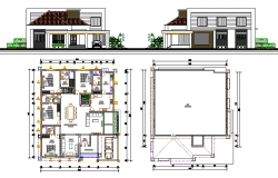 Two flooring bungalow elevation and structure details dwg file