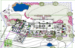 Two flooring bungalow landscaping with structure details dwg file