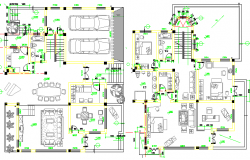Two flooring multi-family bungalow floor plan details dwg file