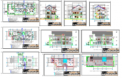 Two flooring one family house architecture project dwg file