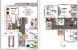 Two flooring one family house floor plan layout dwg file