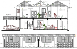 Two flooring residential bungalow sectional details dwg file