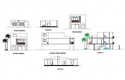 Two-flooring residential house all sided elevation and section details dwg file