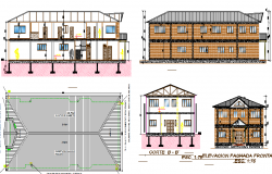 Two flooring school architecture project dwg file
