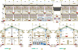 Two flooring school sectional view dwg file