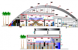 Two flooring shopping center elevation and sectional details dwg file