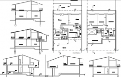 Two flooring single family house architecture project dwg file