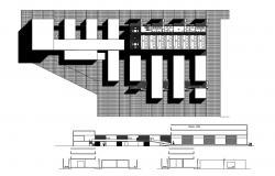 Two flooring social center architecture project dwg file
