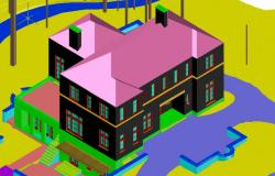 Two-level 3d house model cad drawing details dwg file