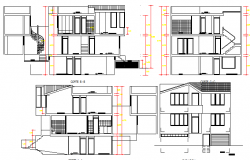 Two level house all sided elevation and section view dwg file