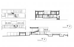 Two-level house all sided elevation and sectional drawing details dwg file
