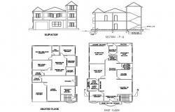 Two-level house elevation, section, ground and first floor plan details dwg file
