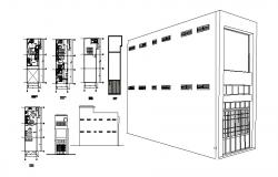 Two-level house isometric elevation and floor plan details dwg file