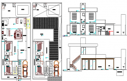 Two level house section and floor plan layout details dwg file