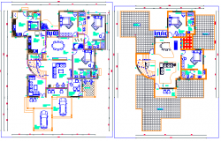 Two level housing architecture layout plan details dwg file