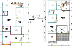 Two level housing floor plan details dwg file