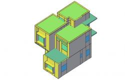 Two-level one family house 3d elevation cad drawing details dwg file