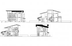 Two-level residential house elevation and section details dwg file