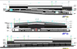 Two-level shopping center elevation and sectional details dwg file